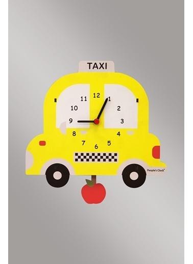 Peoples Clock Sarı Taksi Sallanan Sarkaçlı Çocuk Odası Duvar Saati Renkli
